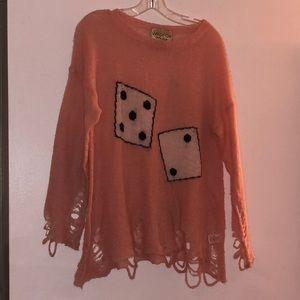 Wildfox pink dice sweater size xs